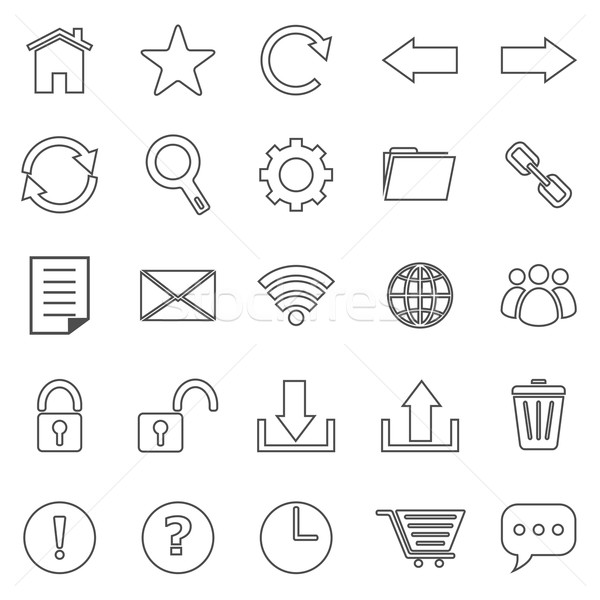 Tool bar line icons on white background Stock photo © punsayaporn