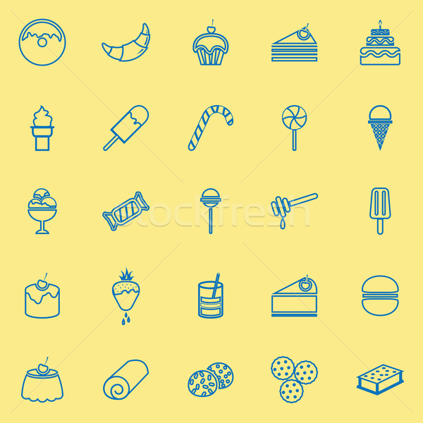 Dessert line icons on yellow background Stock photo © punsayaporn