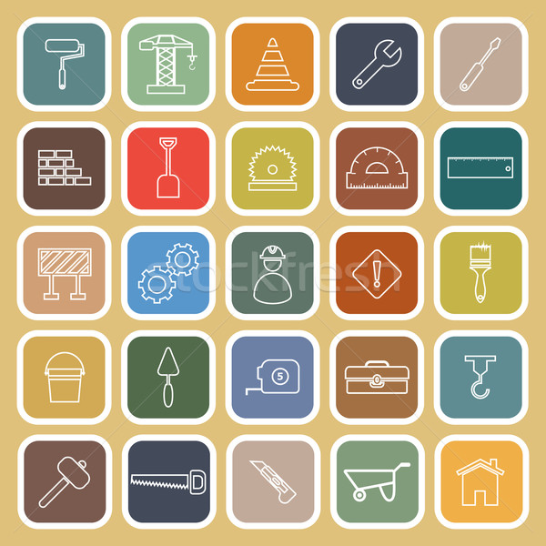 Construction line flat icons on brown background Stock photo © punsayaporn