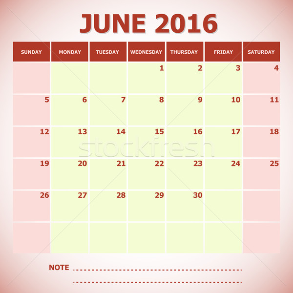 Calendar June 2016 week starts Sunday Stock photo © punsayaporn