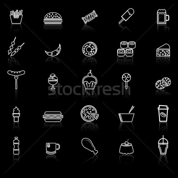 Fast food line icons with reflect on black background Stock photo © punsayaporn