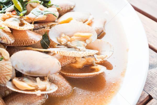 Stir fried clams with roasted chili paste, thai cuisine Stock photo © punsayaporn