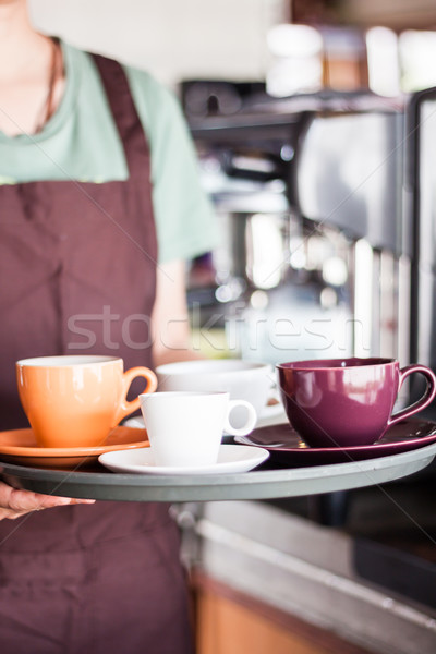 Barista serving set of freshly brewed coffee Stock photo © punsayaporn