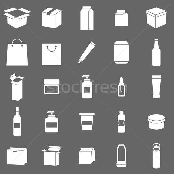 Imballaggio icone grigio stock vettore acqua Foto d'archivio © punsayaporn