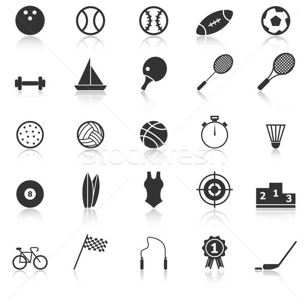 Sport icons with reflect on white background Stock photo © punsayaporn