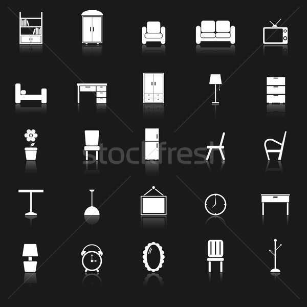 Furniture icons with reflect on black background Stock photo © punsayaporn