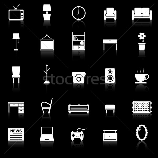 Living room icons with reflect on black background Stock photo © punsayaporn