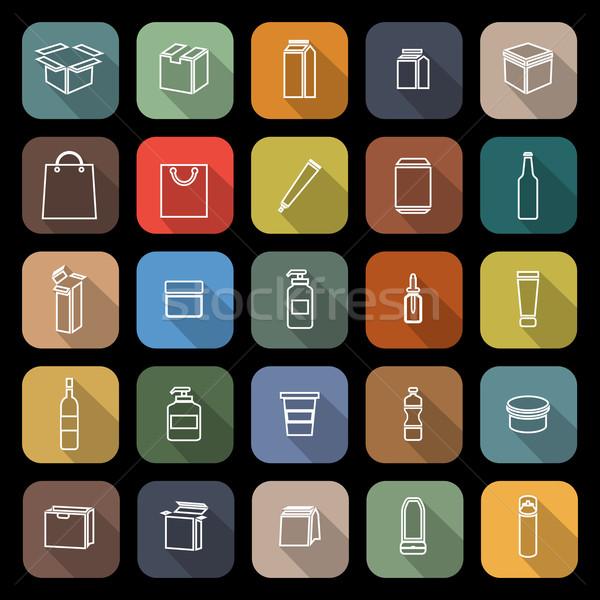 Envases línea iconos largo sombra stock Foto stock © punsayaporn
