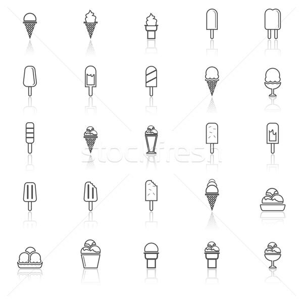 Ice cream line icons with reflect on white background Stock photo © punsayaporn