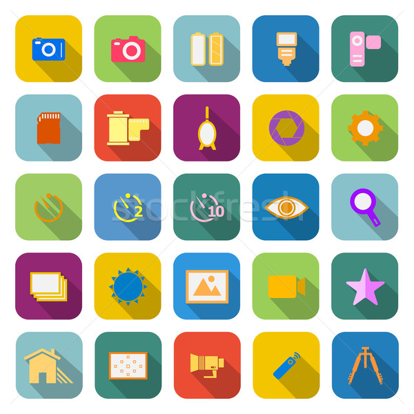 Camera color icons with long shadow Stock photo © punsayaporn