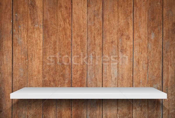 Empty shelf on old wooden background Stock photo © punsayaporn
