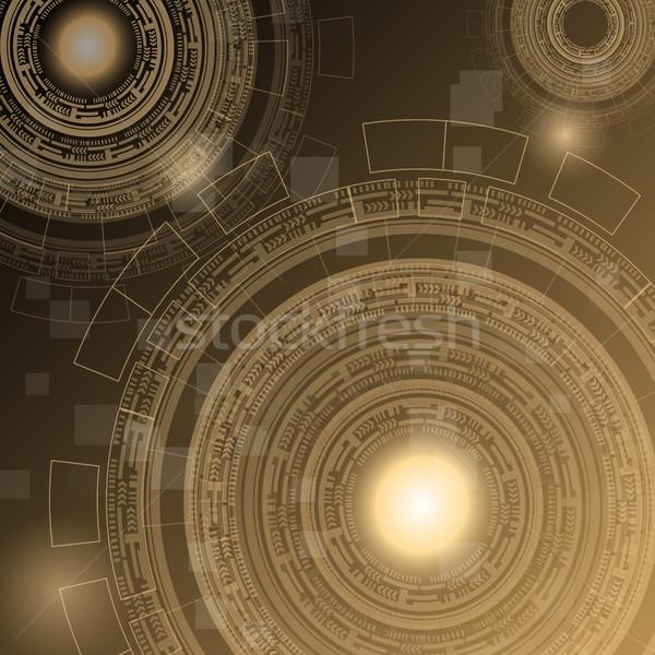 Abstract dark brown technology futuristic background Stock photo © punsayaporn