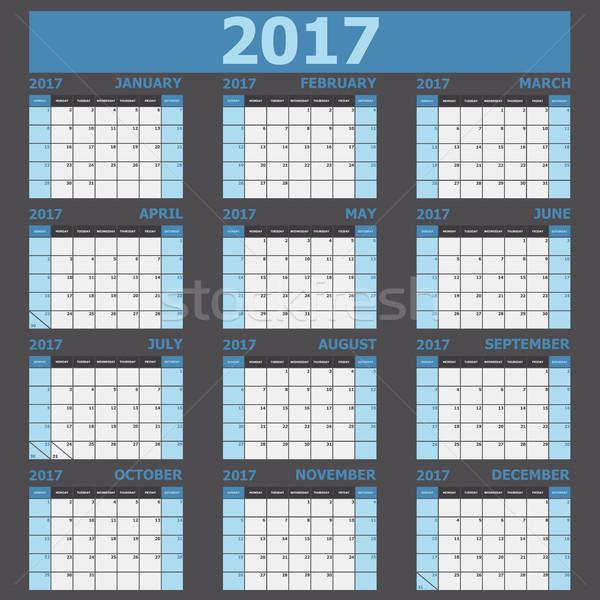 Calendario semana azul stock vector oficina Foto stock © punsayaporn