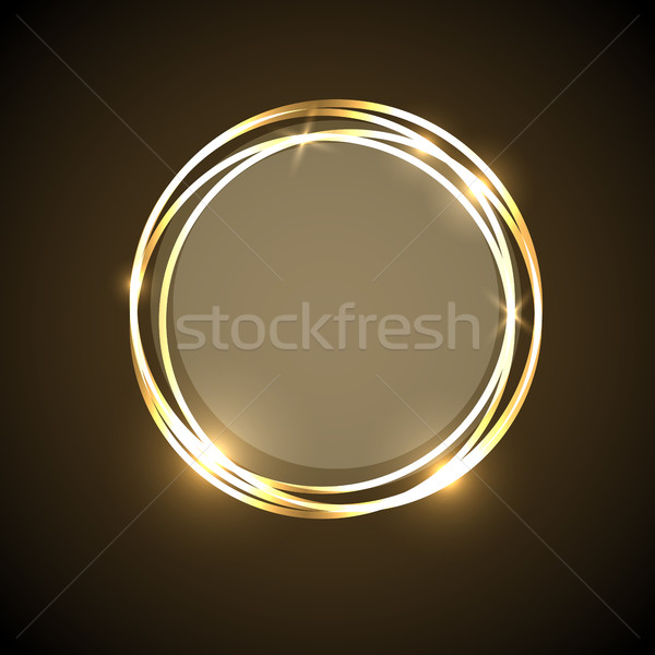 Abstract background with gold neon circles banner Stock photo © punsayaporn