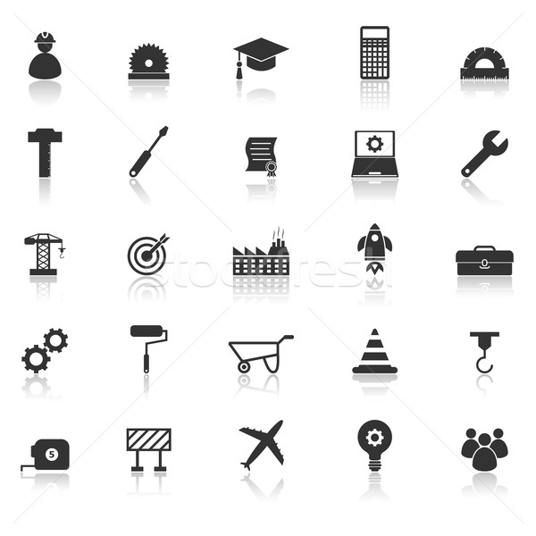 Engineering icons with reflect on white background Stock photo © punsayaporn