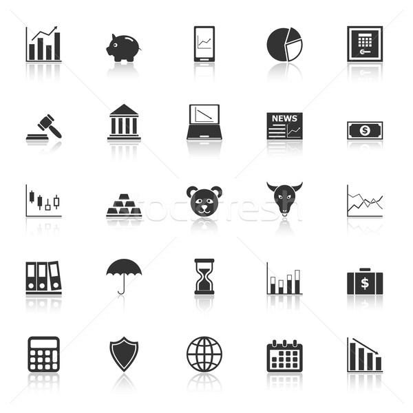 Stock market icons with reflect on white background Stock photo © punsayaporn