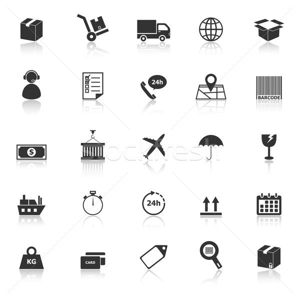 Logistics icons with reflect on white background Stock photo © punsayaporn