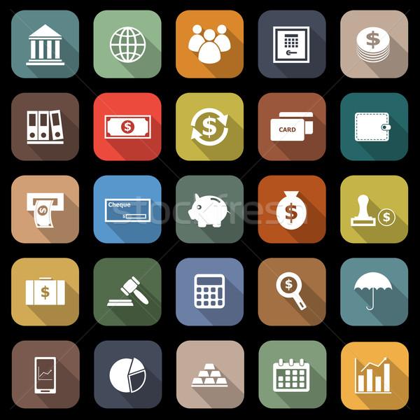 Stockfoto: Bancaire · iconen · lang · schaduw · voorraad · vector