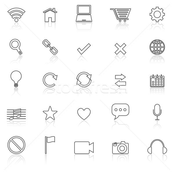Web line icons with reflect on white Stock photo © punsayaporn