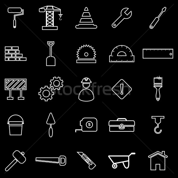 Construction line icons on black background Stock photo © punsayaporn