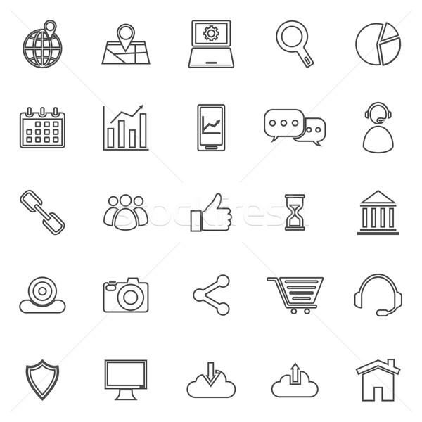 SEO line icons on white background Stock photo © punsayaporn
