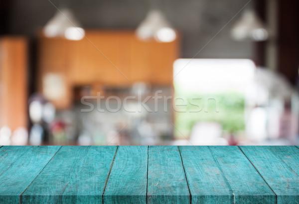 青 先頭 木製 抽象的な ぼかし コーヒーショップ ストックフォト © punsayaporn