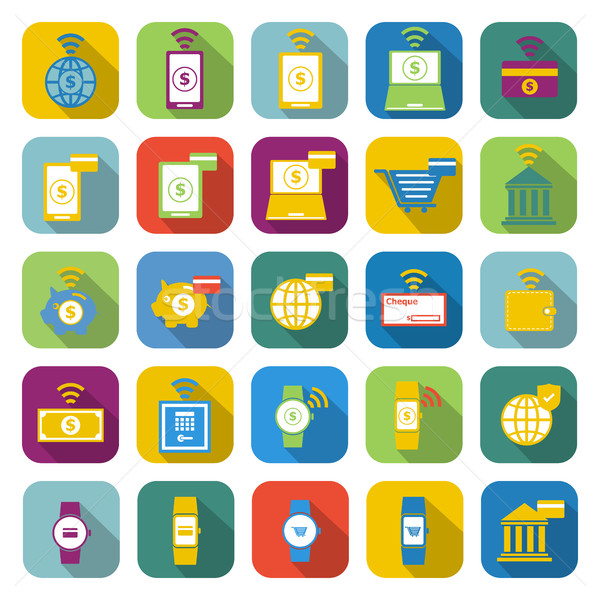 Fintech color icons with long shadow Stock photo © punsayaporn
