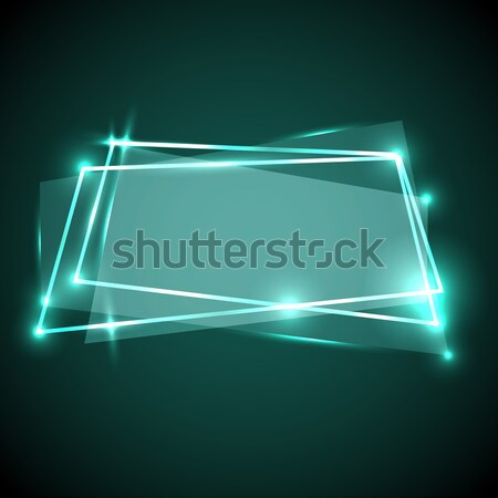 Abstract background with green neon banner Stock photo © punsayaporn