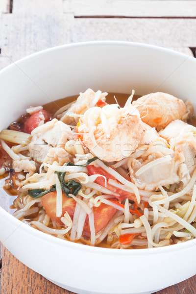 Bean sprout and tomato stir fry with tofu Stock photo © punsayaporn
