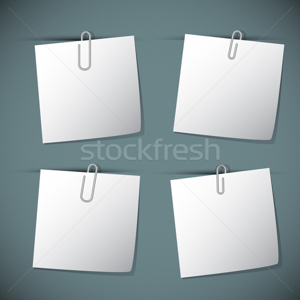 Stock photo: Note papers with paperclip