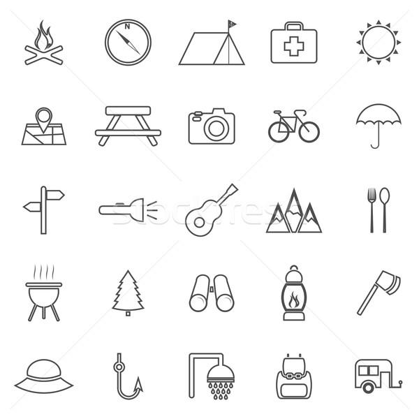 Camping line icons on white background Stock photo © punsayaporn
