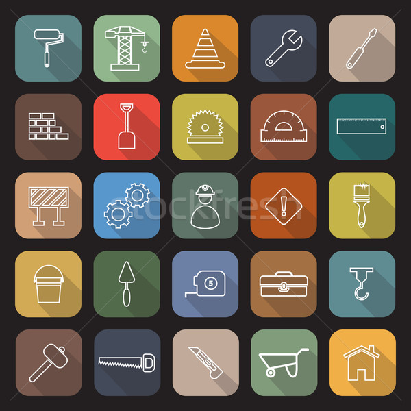 Construction line flat icons with long shadow Stock photo © punsayaporn