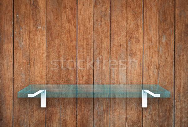 ストックフォト: ガラス · シェルフ · 木製 · テクスチャ · 在庫 · 写真