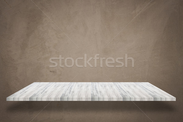 Empty white top wooden shelf with concrete wall background Stock photo © punsayaporn