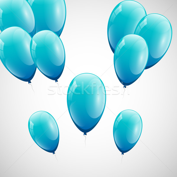 Blue balloons with white background Stock photo © punsayaporn