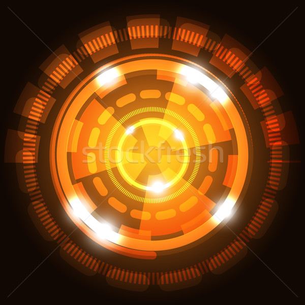 Abstrato tecnologia laranja círculos estoque vetor Foto stock © punsayaporn