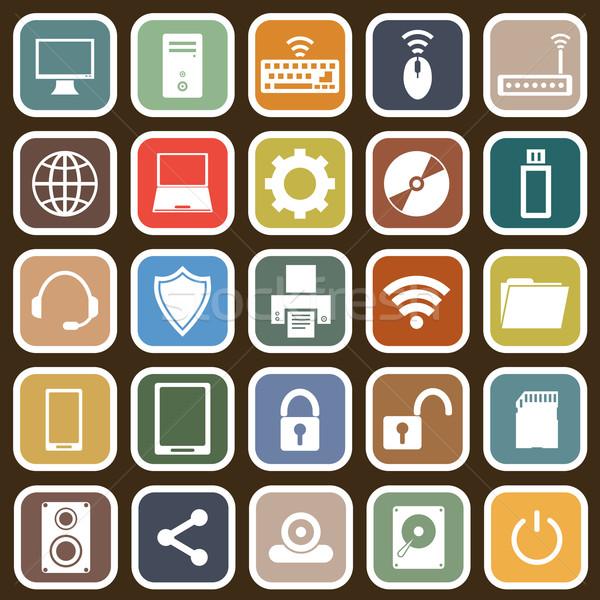 Computador ícones marrom estoque vetor telefone Foto stock © punsayaporn