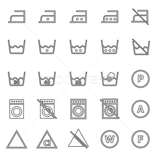 Laundry line icons on white background Stock photo © punsayaporn