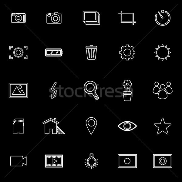 Fotografia line icone nero stock vettore Foto d'archivio © punsayaporn