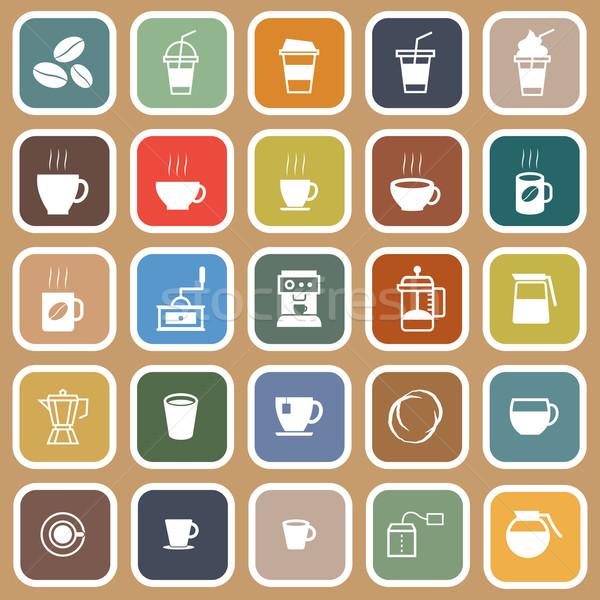 Koffie iconen bruin voorraad vector winkel Stockfoto © punsayaporn