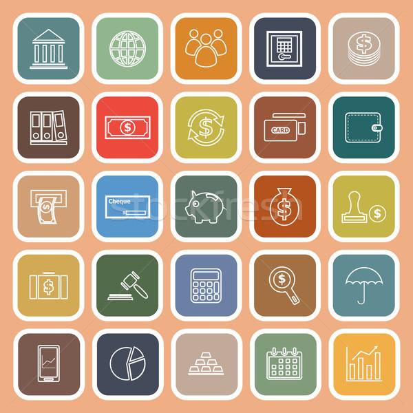 Banking line icons on orange background Stock photo © punsayaporn