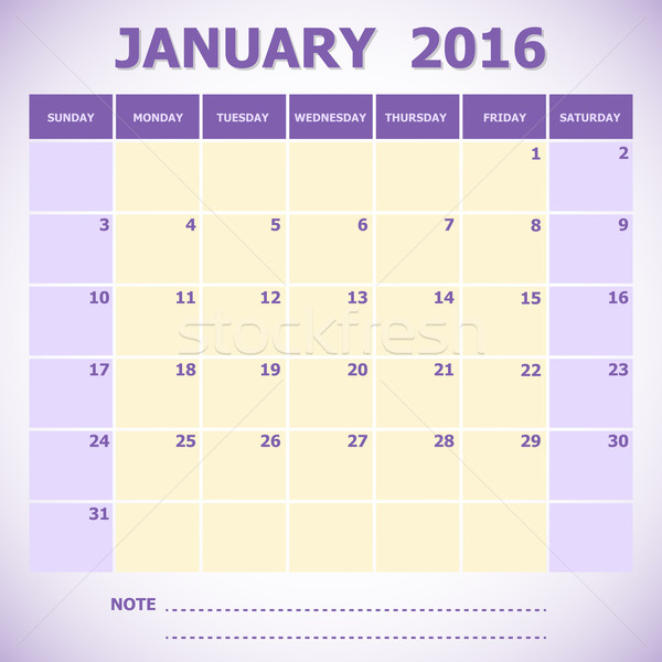 Calendar January 2016 week starts Sunday Stock photo © punsayaporn