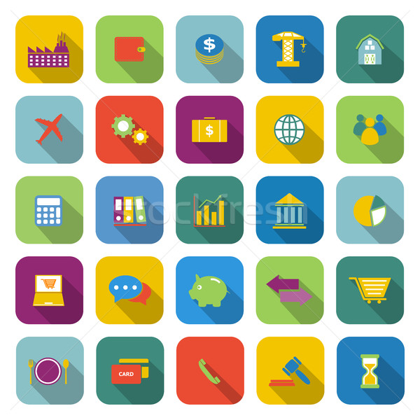 Economy color icons with long shadow Stock photo © punsayaporn