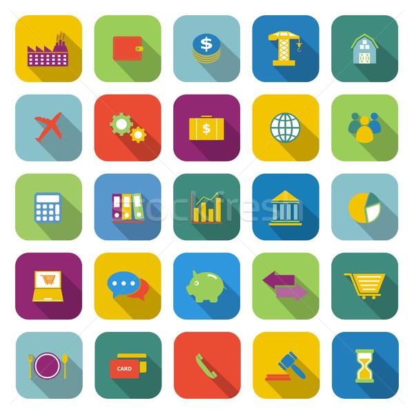Gospodarki kolor ikona długo cień czas Zdjęcia stock © punsayaporn
