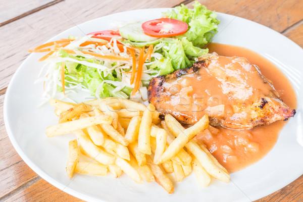 Stockfoto: Gegrilde · kip · biefstuk · groenten · voorraad · foto