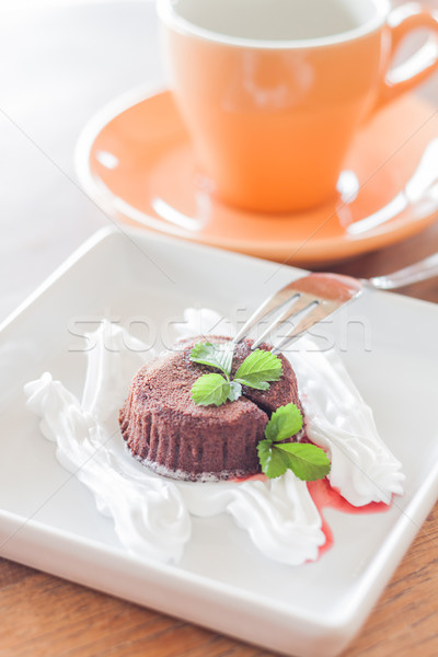 Chocolate lava bolo garfo xícara de café estoque Foto stock © punsayaporn