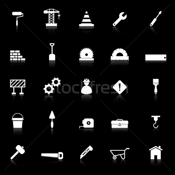 Construction icons with reflect on black background Stock photo © punsayaporn