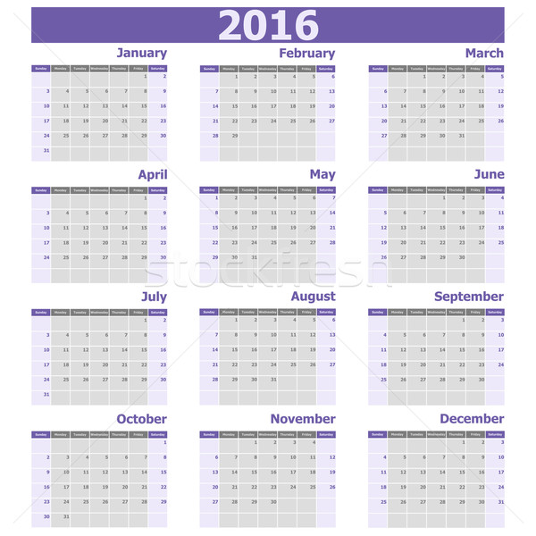 Calendar 2016 week starts from Sunday Stock photo © punsayaporn