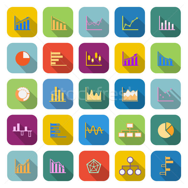 Graph color icons with long shadow Stock photo © punsayaporn