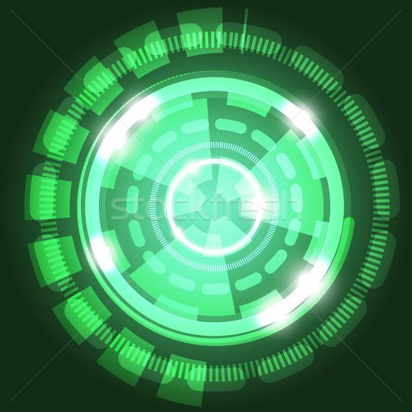 Absztrakt technológia zöld körök stock vektor Stock fotó © punsayaporn